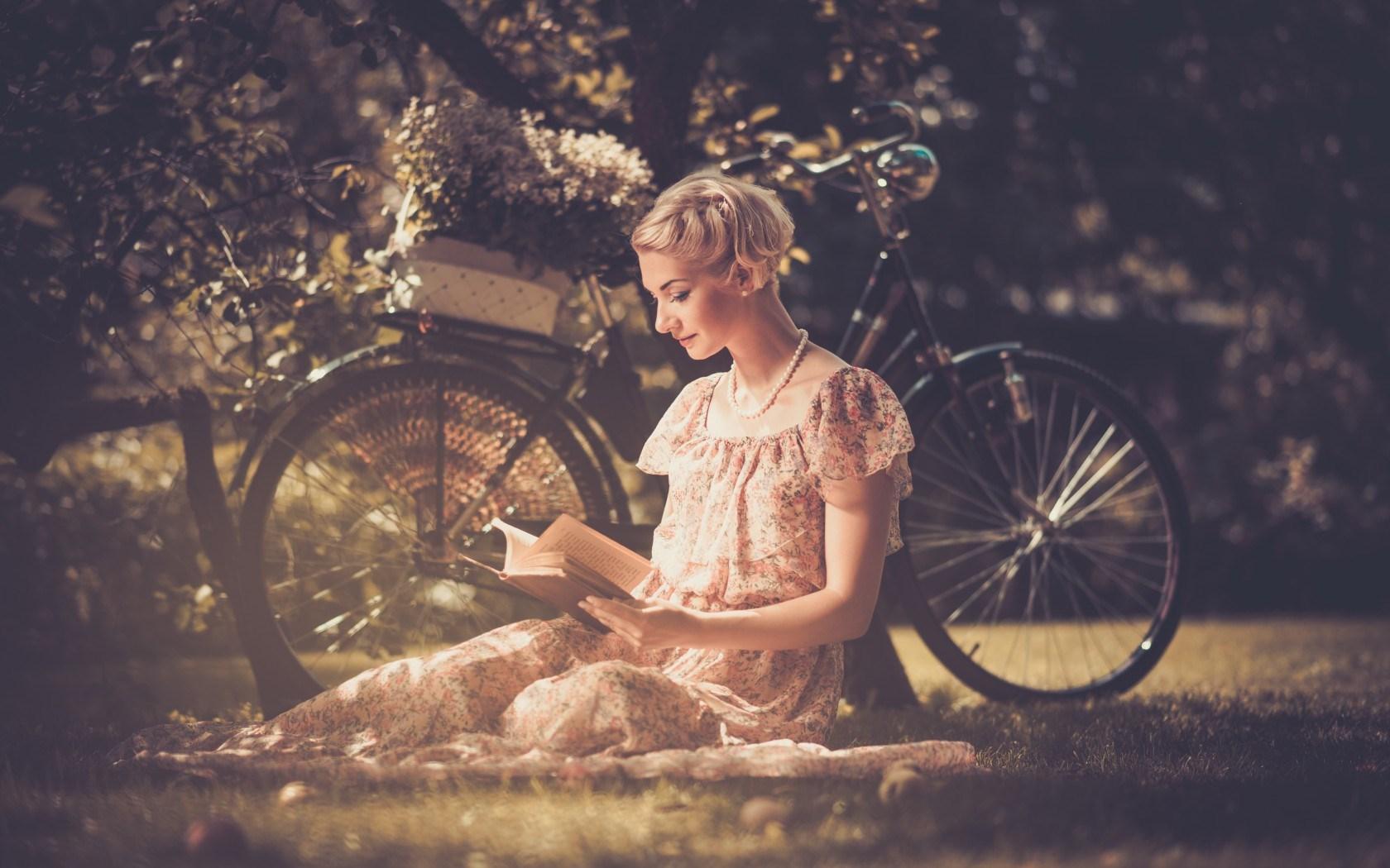 Girl Blonde Long Summer Dress Bicycle Reading Book Hd